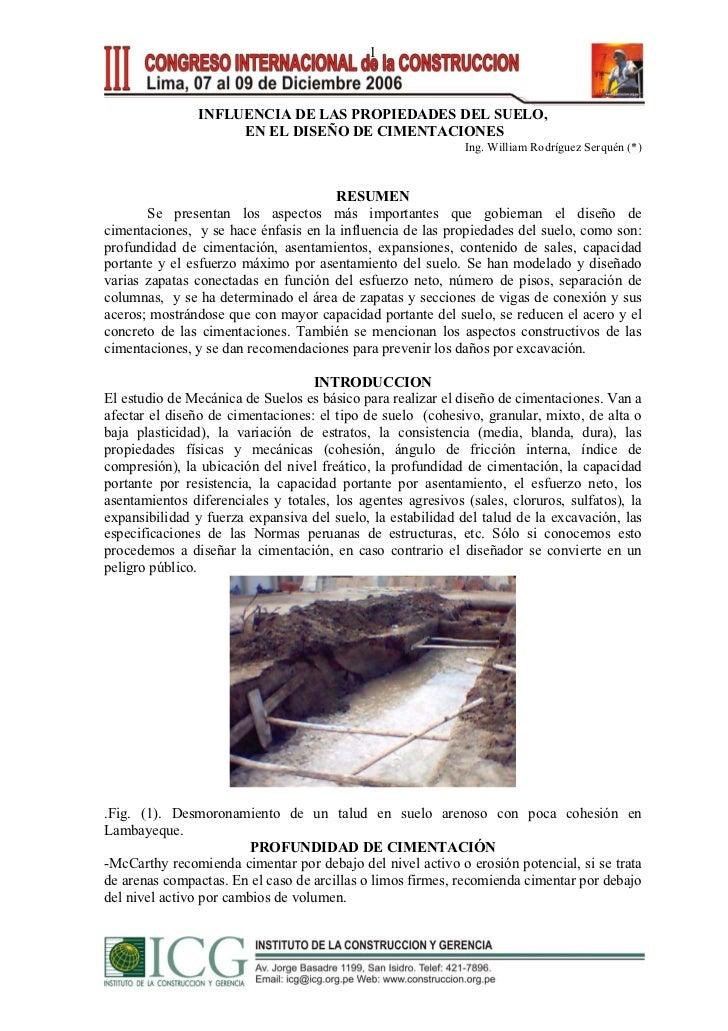 1                INFLUENCIA DE LAS PROPIEDADES DEL SUELO,                     EN EL DISEÑO DE CIMENTACIONES               ...