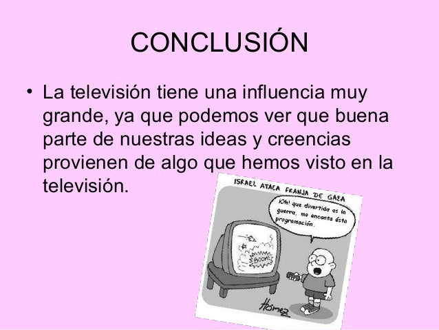 """conclusion on television The negative effects of television essay like the sorcerer of old the television set casts its magic spell, freezing speech and action, turning the living into silent statues so long as the enchantment lasts""""."""
