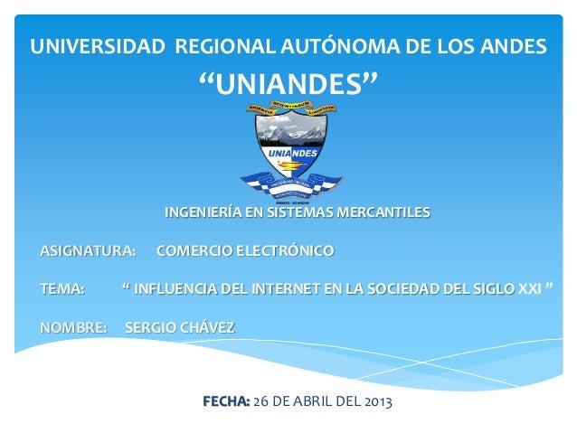 """UNIVERSIDAD REGIONAL AUTÓNOMA DE LOS ANDES""""UNIANDES""""INGENIERÍA EN SISTEMAS MERCANTILESASIGNATURA: COMERCIO ELECTRÓNICOTEMA..."""