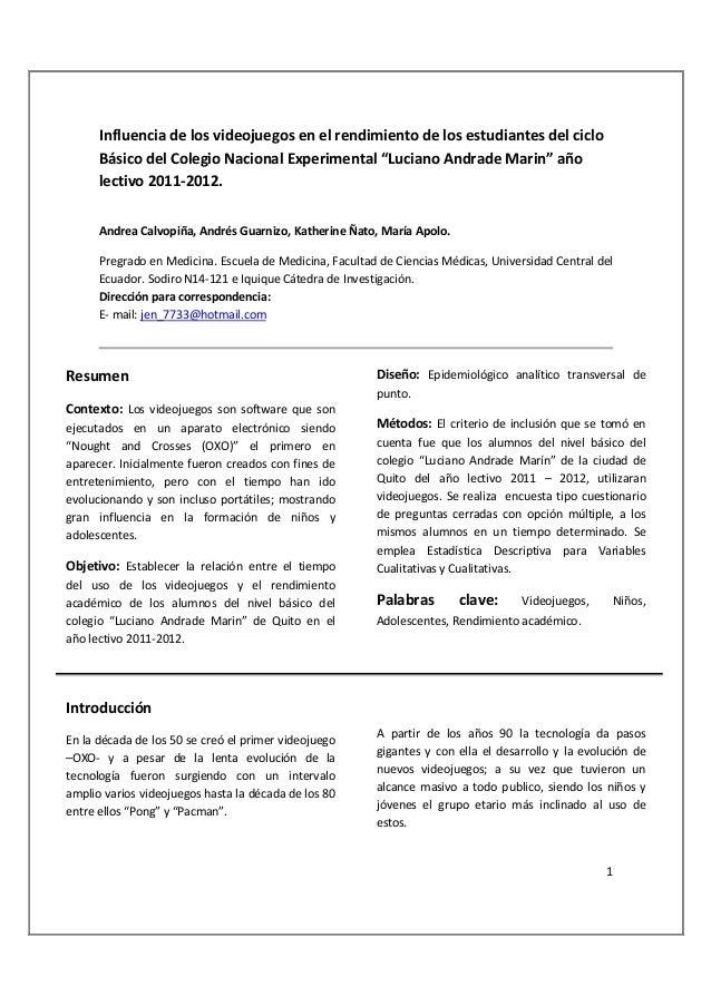 Influencia de los videojuegos en el rendimiento de los estudiantes del ciclo      Básico del Colegio Nacional Experimental...