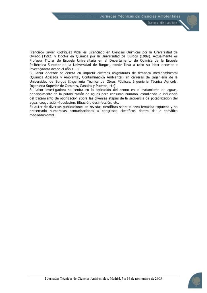Influencia del tratamiento con ozono en los procesos de potabilización del agua. Slide 2