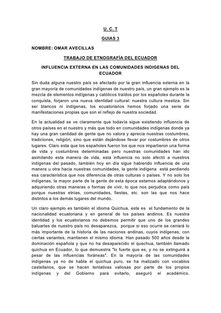 U. C. T                                     GUIAS 3  NOMBRE: OMAR AVECILLAS                  TRABAJO DE ETNOGRAFÍA DEL ECU...