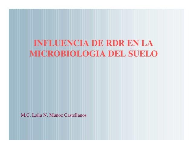 Influencia rdr en la microbiologia suelo