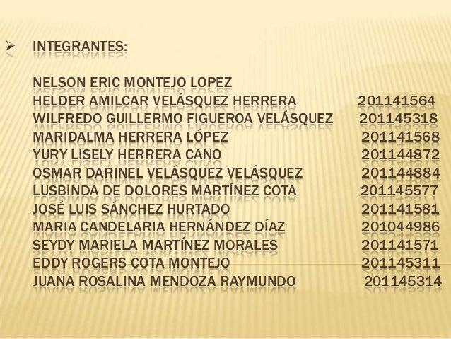  INTEGRANTES:NELSON ERIC MONTEJO LOPEZHELDER AMILCAR VELÁSQUEZ HERRERA 201141564WILFREDO GUILLERMO FIGUEROA VELÁSQUEZ 201...