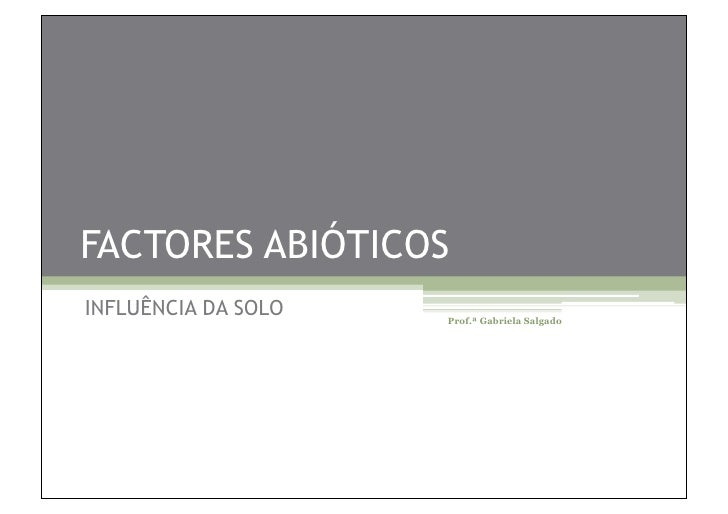 FACTORES ABIÓTICOS INFLUÊNCIA DA SOLO   Prof.ª Gabriela Salgado