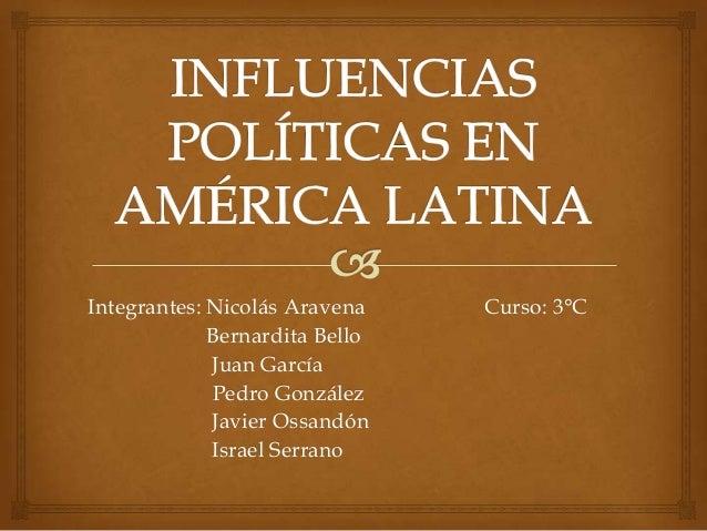Integrantes: Nicolás Aravena Curso: 3°C Bernardita Bello Juan García Pedro González Javier Ossandón Israel Serrano