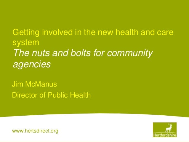 www.hertsdirect.orgGetting involved in the new health and caresystemThe nuts and bolts for communityagenciesJim McManusDir...