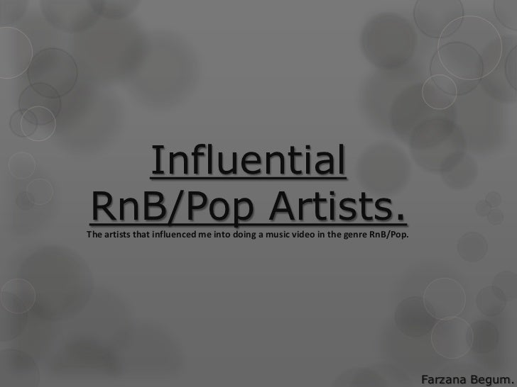 InfluentialRnB/Pop Artists.The artists that influenced me into doing a music video in the genre RnB/Pop.                  ...