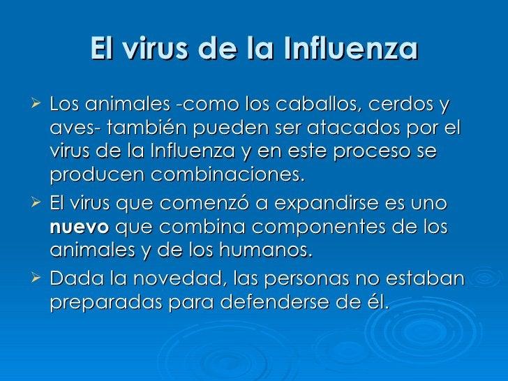 El virus de la Influenza    Los animales -como los caballos, cerdos y     aves- también pueden ser atacados por el     vi...