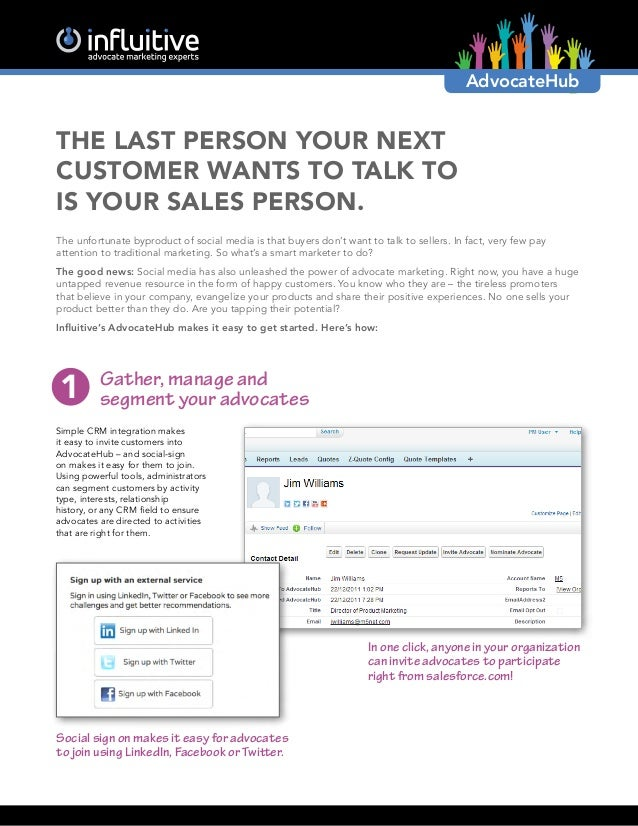 AdvocateHubThe Last Person Your NextCustomer Wants to Talk tois Your Sales Person.The unfortunate byproduct of social medi...