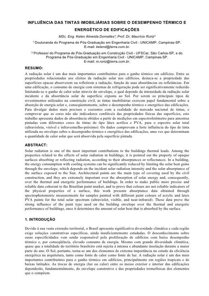 INFLUÊNCIA DAS TINTAS IMOBILIÁRIAS SOBRE O DESEMPENHO TÉRMICO E                                 ENERGÉTICO DE EDIFICAÇÕES ...