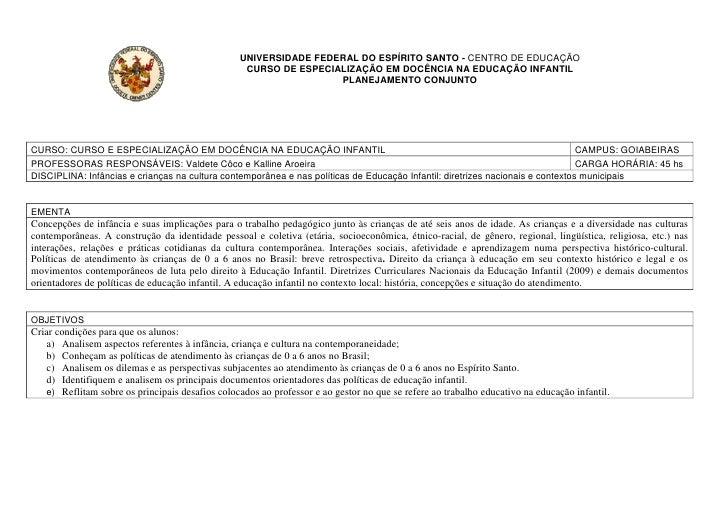 UNIVERSIDADE FEDERAL DO ESPÍRITO SANTO - CENTRO DE EDUCAÇÃO                                                   CURSO DE ESP...