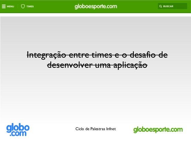 Integração entre times e o desafio de desenvolver uma aplicação Ciclo de Palestras Infnet