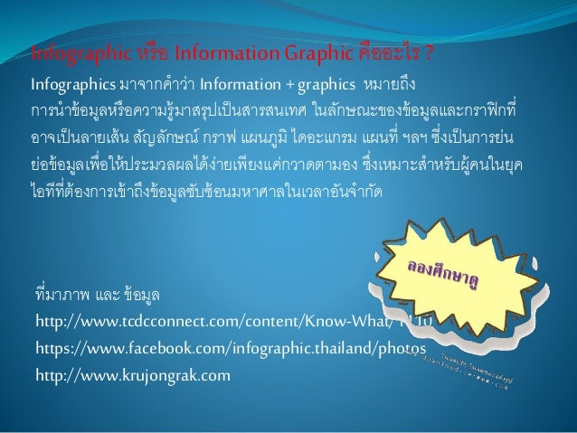 ที่มาภาพ และ ข้อมูล http://www.tcdcconnect.com/content/Know-What/1110 https://www.facebook.com/infographic.thailand/photos...