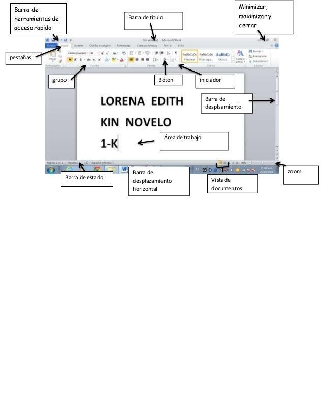 Barra de  herramientas de  acceso rapido  pestañas  grupo Boton  Minimizar,  maximizar y  cerrar  Barra de titulo  iniciad...