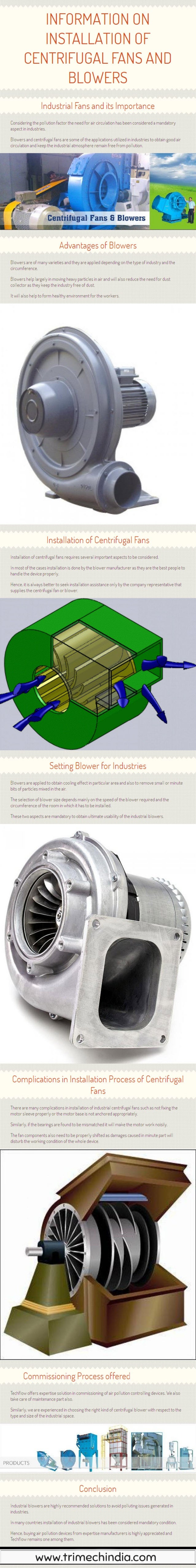 Information on Installation of Centrifugal fans and blowers