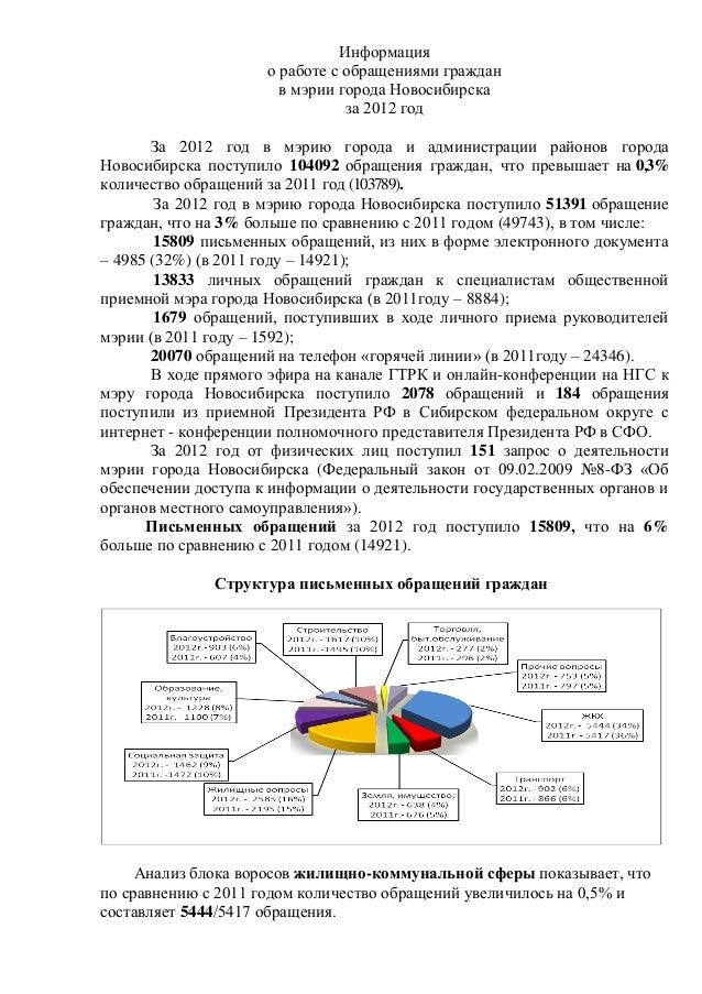Информация о работе с обращениями граждан в мэрии города Новосибирска за 2012 год За 2012 год в мэрию города и администрац...