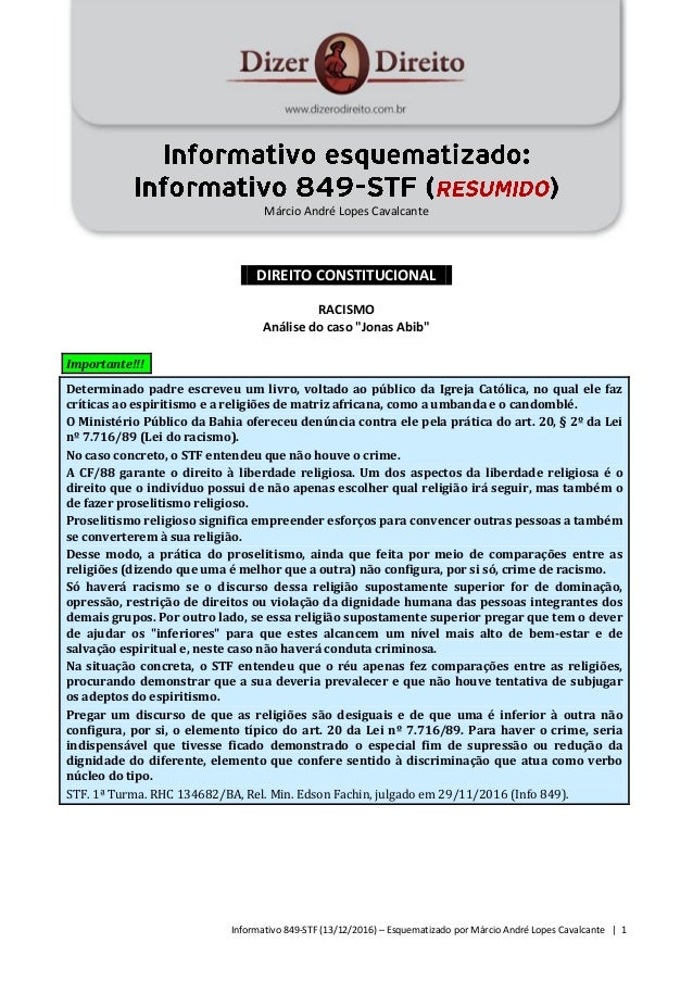 Informativo 849-STF (13/12/2016) – Esquematizado por Márcio André Lopes Cavalcante | 1 Márcio André Lopes Cavalcante DIREI...