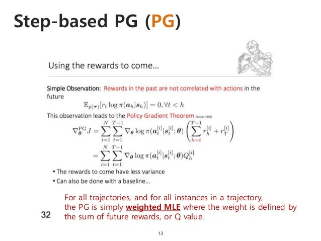 Step-based PG (PG) 13 For all trajectories, and for all instances in a trajectory, the PG is simply weighted MLE where the...