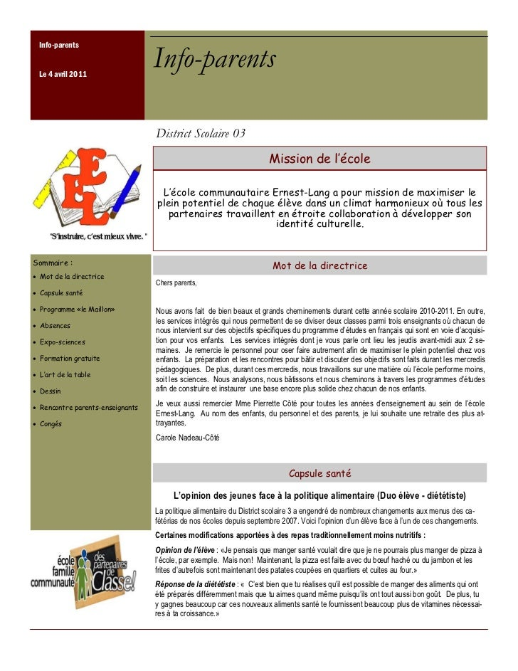 Info-parents Le 4 avril 2011                                 Info-parents                                 District Scolair...
