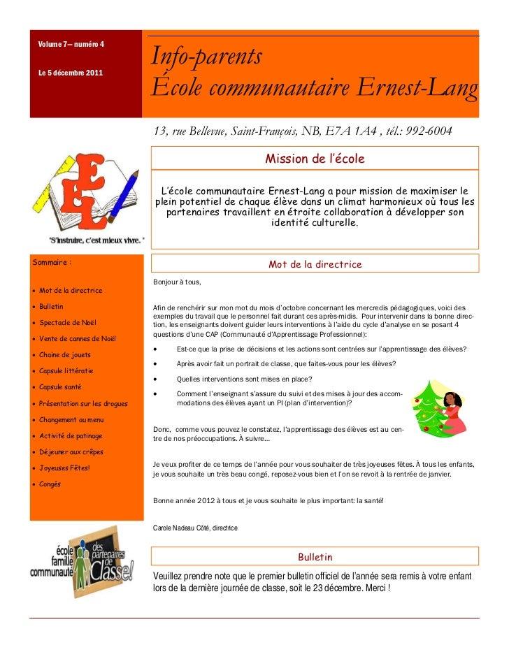 Volume 7— numéro 4 Le 5 décembre 2011                                 Info-parents                                 École c...