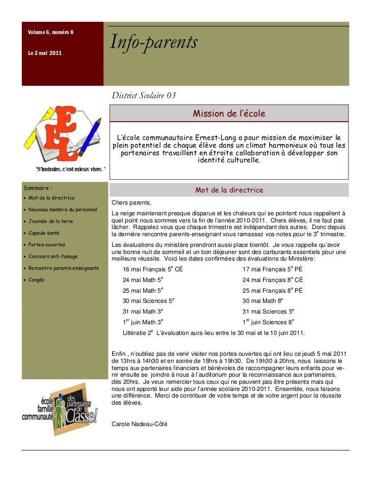 Volume 6, numéro 8 Le 2 mai 2011                                  Info-parents                                  District S...