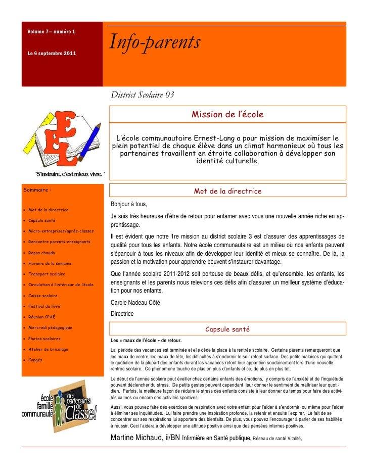 Volume 7— numéro 1  Le 6 septembre 2011                                         Info-parents                              ...