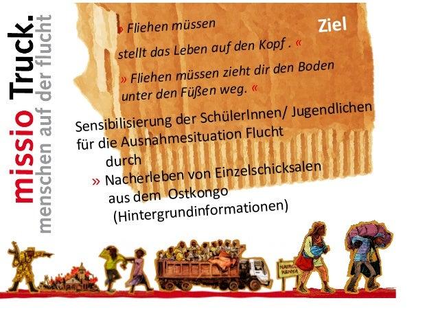 """mobil  Ausstellung in einem LKW  zum Thema """"Flucht und Migration. Weltweit.""""  multimedial  computeranimierten Spiele,  int..."""