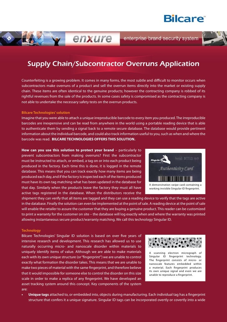 Supply Chain/Subcontractor Overruns Application  Counterfeiting is a growing problem. It comes in many forms, the most sub...