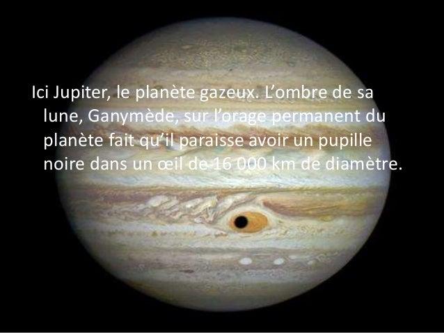 Ici Jupiter, le planète gazeux. L'ombre de sa lune, Ganymède, sur l'orage permanent du planète fait qu'il paraisse avoir u...