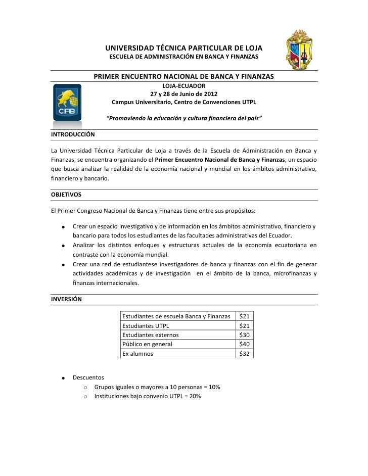 UNIVERSIDAD TÉCNICA PARTICULAR DE LOJA                     ESCUELA DE ADMINISTRACIÓN EN BANCA Y FINANZAS               PRI...