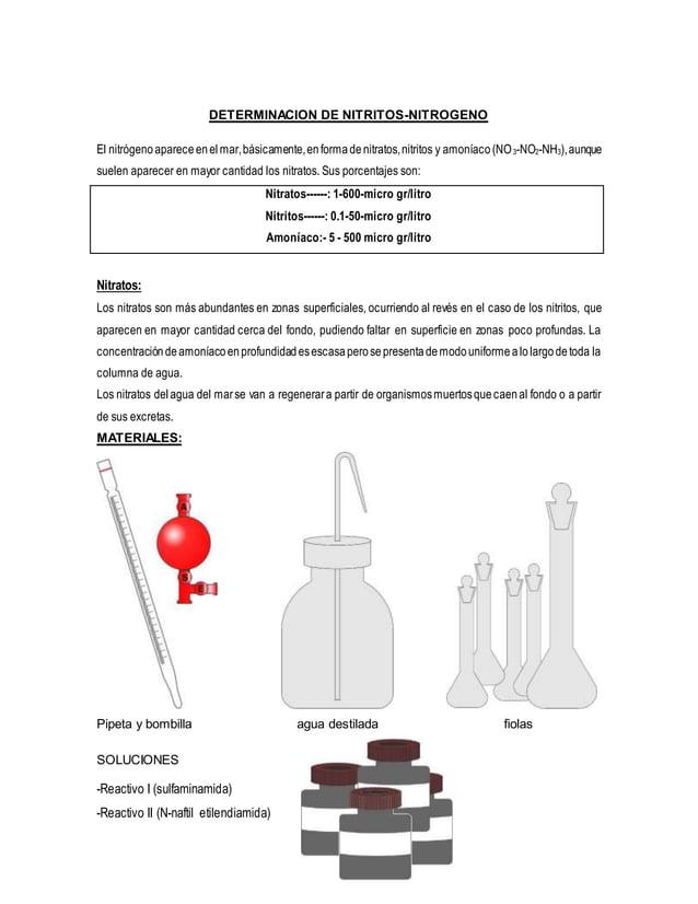 DETERMINACION DE NITRITOS-NITROGENO El nitrógenoapareceenelmar,básicamente,enformadenitratos,nitritos y amoníaco(NO3-NO2-N...