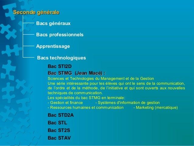 Seconde générale       Bacs généraux       Bacs professionnels       Apprentissage        Bacs technologiques            B...