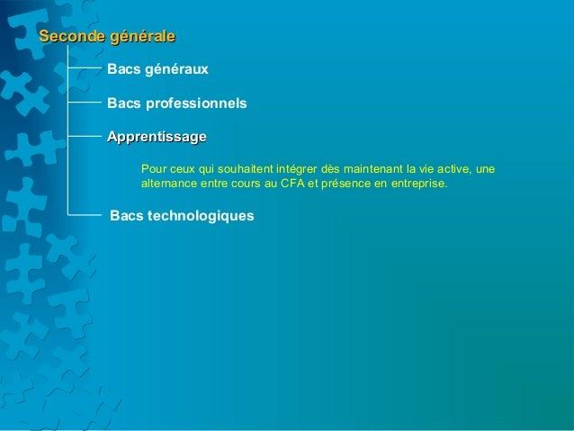 Seconde générale       Bacs généraux       Bacs professionnels       Apprentissage            Pour ceux qui souhaitent int...