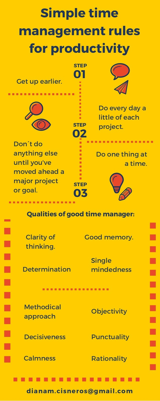 Simple time management rules for productivity Don´t do anything else until you've moved ahead a major project or goal. Get...