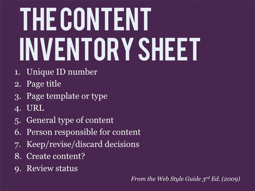 The Content inventory sheet 1.