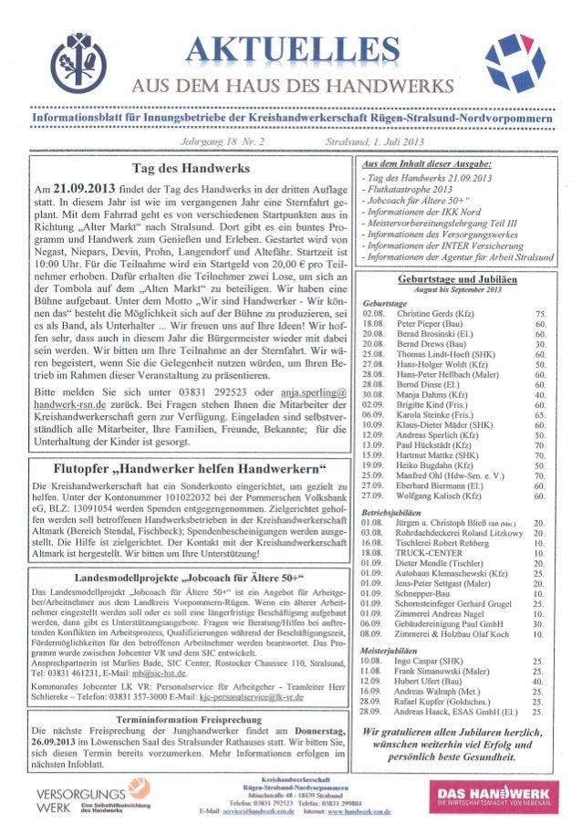 2. Infoblatt der Kreishandwerkerschaft Rügen-Stralsund-Nordvorpommern
