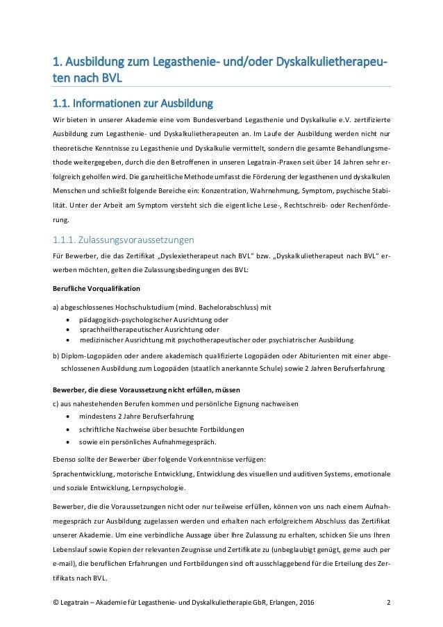 Infoblatt zur Ausbildung zum Legasthenie- und Dyskalkulietherapeuten