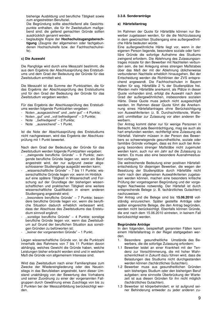 9 bisherige - Begrundung Zweitstudium Muster