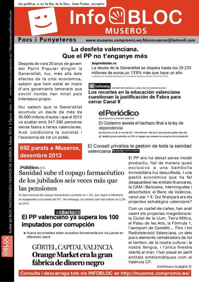 Pocs i Pu nyeteros  www.museros.compromis.ws/blocmuseros@hotmail.com  La desfeta valenciana. Que el PP no t'enganye més De...