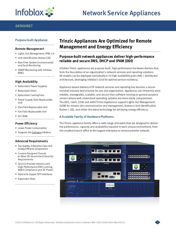 Network Service AppliancesDATASHEETPurpose-built Appliance                   Trinzic Appliances Are Optimized for RemoteRe...