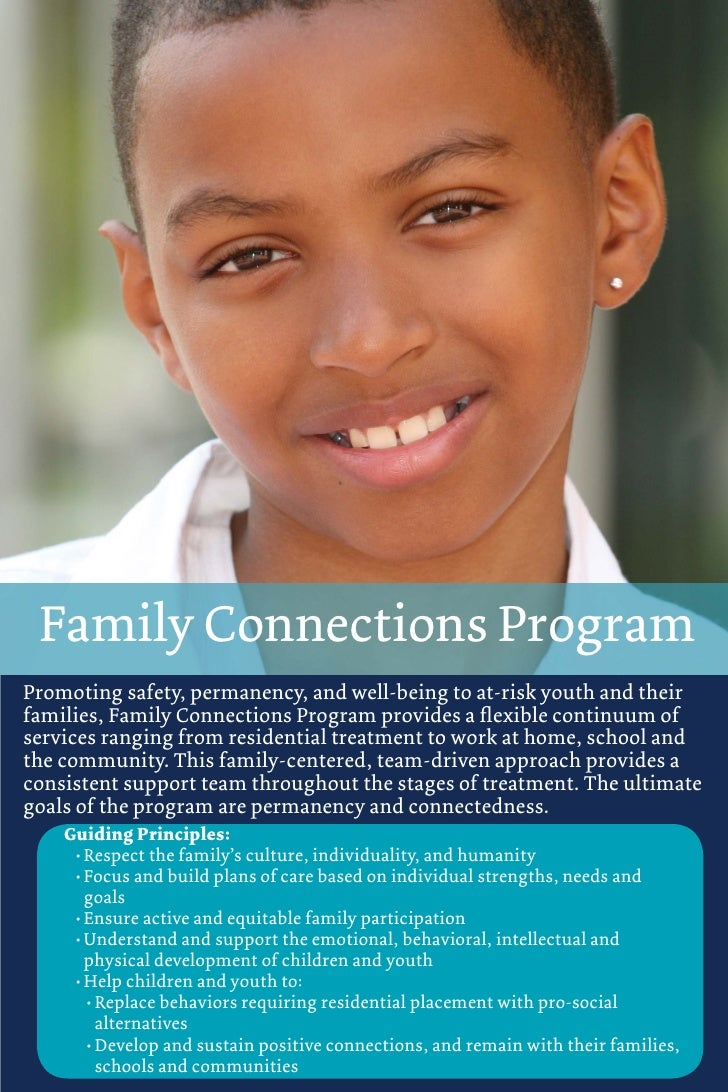 Family Connections ProgramPromoting safety, permanency, and well-being to at-risk youth and theirfamilies, Family Connecti...