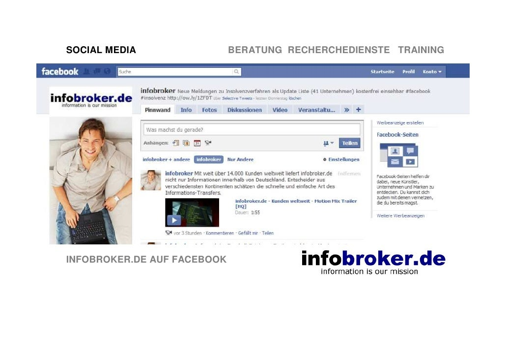 SOCIAL MEDIA                 BERATUNG RECHERCHEDIENSTE TRAINING     INFOBROKER.DE AUF FACEBOOK