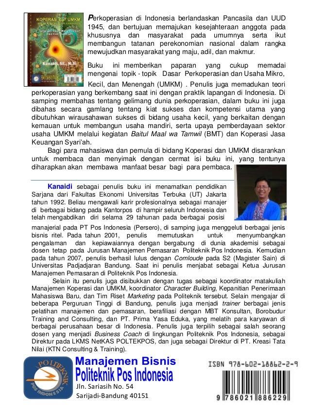 "Buku ""KOPERASI dan USAHA MIKRO-KECIL DAN MENENGAH (UMKM)""...Pengarang: Kanaidi, SE., M.Si"
