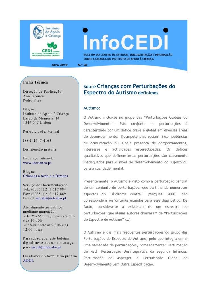 Abril 2010         N.º 25Ficha Técnica                                            Crianças com Perturbações do            ...