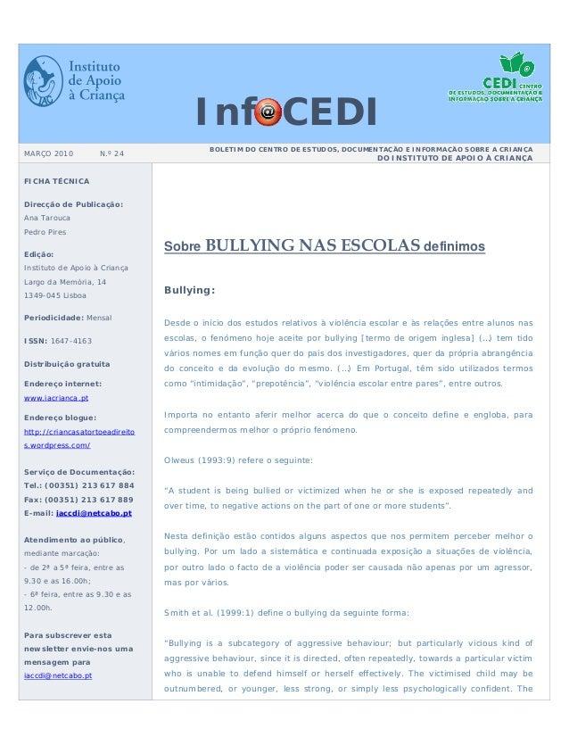 Inf CEDI                                            BOLETIM DO CENTRO DE ESTUDOS, DOCUMENTAÇÃO E INFORMAÇÃO SOBRE A CRIANÇ...