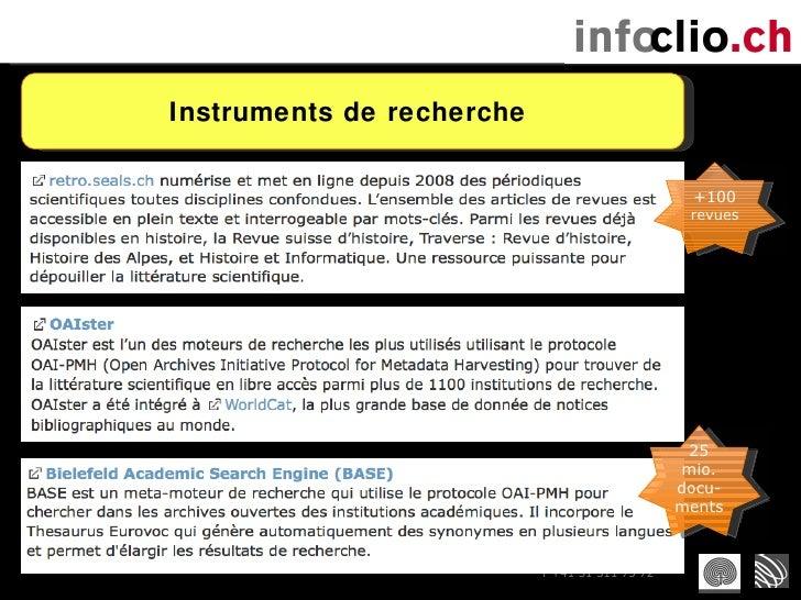 Instruments de recherche  25 mio. docu-ments +100 revues