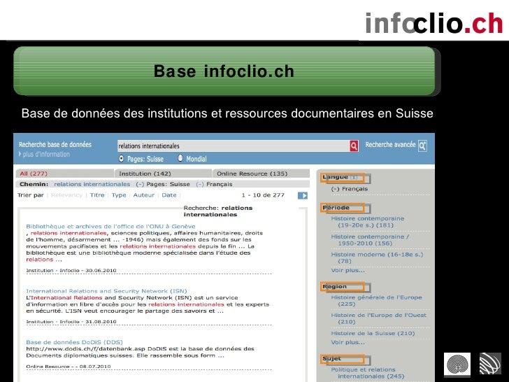 Base infoclio.ch Base de données des institutions et ressources documentaires en Suisse