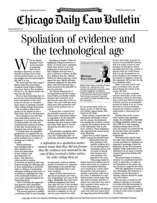 Spoliation of Evidence - Chicago Daily Law Bulletin