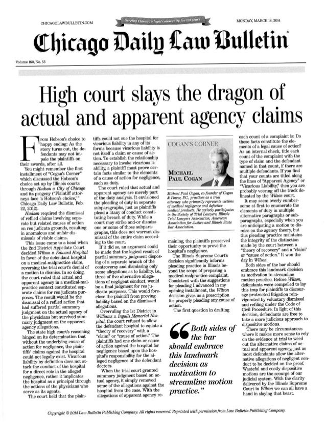 Cogan's Corner - Actual and Apparent Agency Claims